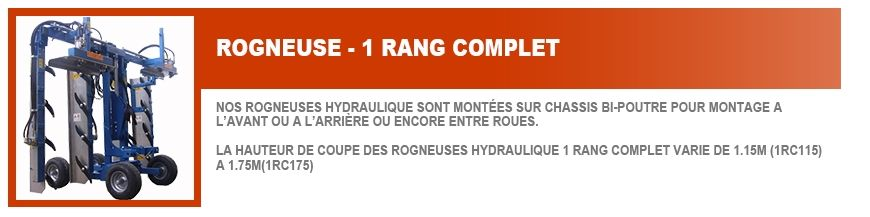 Rogneuse Hydraulique 1 Rang Complet